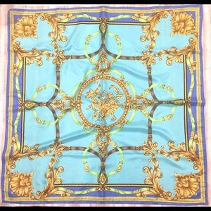 Apt 9 Blue Yellow Gold Scrollwork Square Scarf